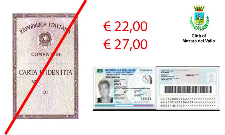 Mazara, la Carta d'identità Elettronica attiva da ottobre costa 22euro , in caso di duplicato 27euro
