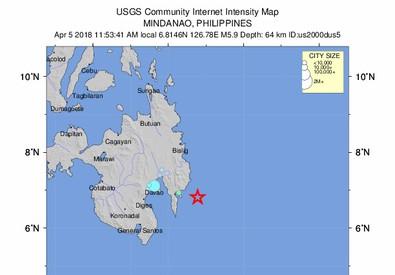 Terremoto nelle Filippine, scossa di magnitudo 6.2