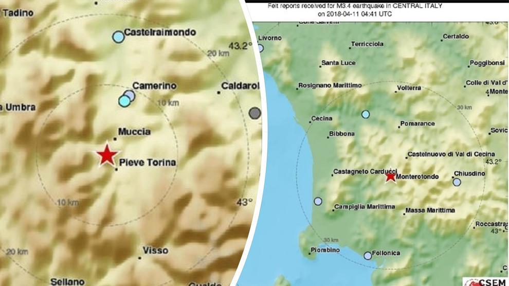 Terremoto di magnitudo 3.4 nella notte a Pieve Torina. Trema anche la Toscana