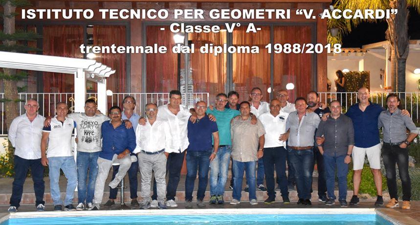 """La """"mitica"""" V^ A dell'Istituto Tecnico per Geometri V. Accardi """" anno scolastico 87/88 celebra il trentennale del diploma"""