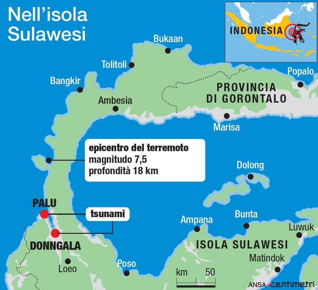 Terremoto in Indonesia causa uno tsunami: spazzate via case, molti dispersi