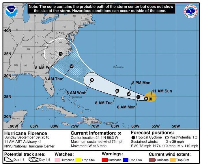 Trump, uragano Florence molto pericoloso. In Virginia evacuazione per 245 mila persone