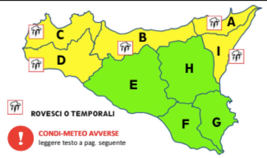 Maltempo in Sicilia: nuova allerta gialla in provincia di Palermo, Trapani e Messina