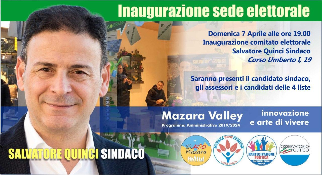 Mazara. INFORMAZIONE ELETTORALE: Domani alle 19 l'inaugurazione del comitato di Salvatore Quinci in corso Umberto I