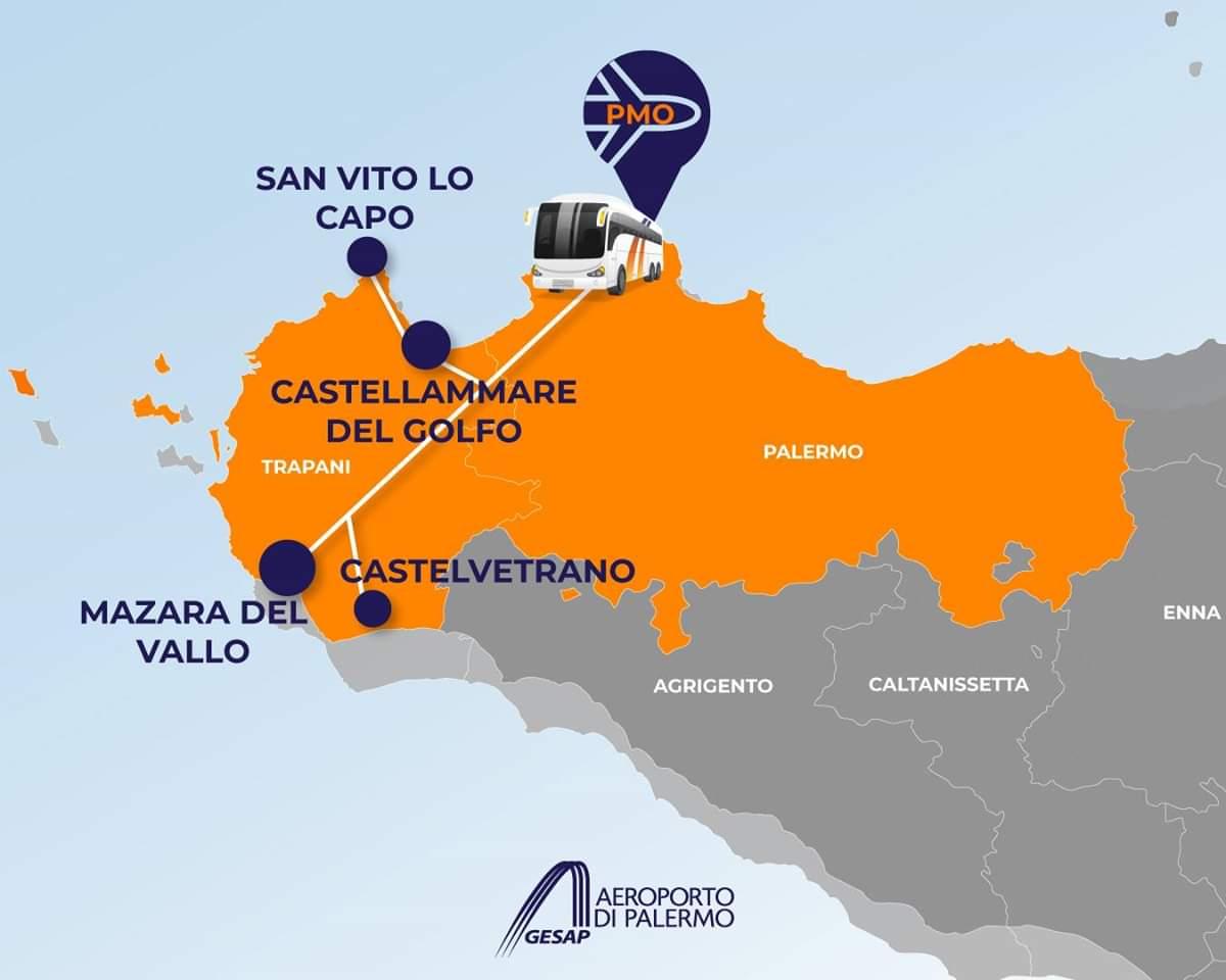 Regione Sicilia: Potenziati per tutto il periodo estivo i collegamenti di autobus dall'aeroporto di Palermo verso la provincia di Trapani