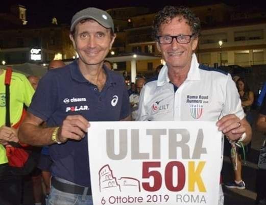 L'atleta Pino Pomilia all'ULTRAMARATONA 50K di Roma
