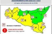 METEO: Avviso di protezione civile per il rischio meteo-idrogeologico e idraulico, valido dalle ore 16 del 23 novembre alle 24.00 del 24 novembre