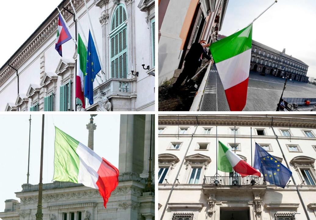 Coronavirus, bandiere a mezz'asta in tutta Italia in ricordo delle vittime
