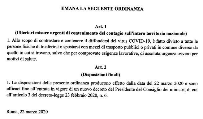 Coronavirus, Divieto di spostamento dal Comune in cui ci si trova («salvo comprovate esigenze»)