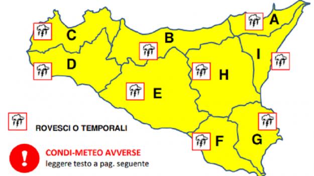 Maltempo e piogge in arrivo, allerta gialla in Sicilia fino a domani