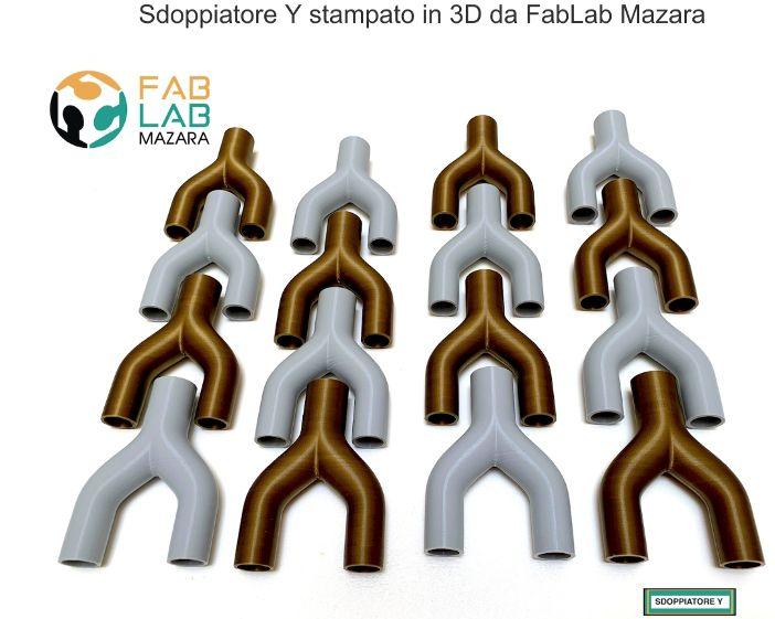 Fab Lab Mazara ETS, Azione a supporto e contrasto del virus covid 19. CONNETTORE a Y STAMPATO IN 3D