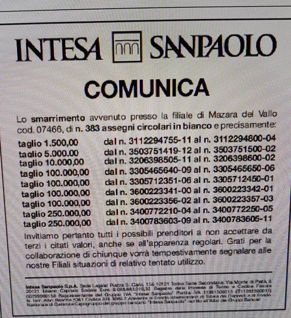 Mazara. Alla Banca Intesa San Paolo hanno perso quasi 400 assegni