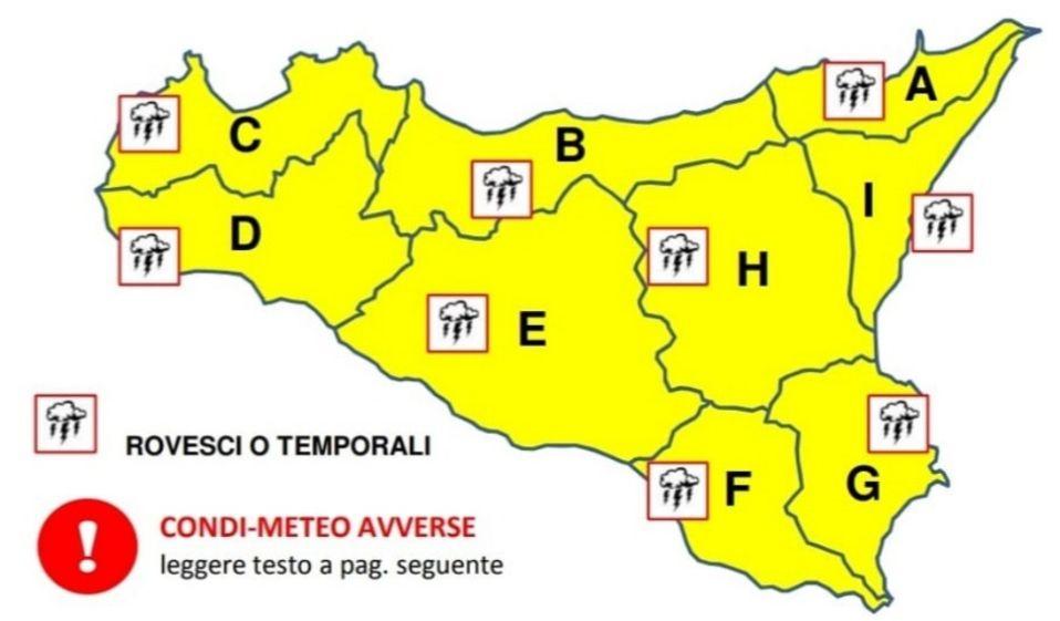 Allerta Gialla domani in Sicilia, previste piogge in tutta la regione