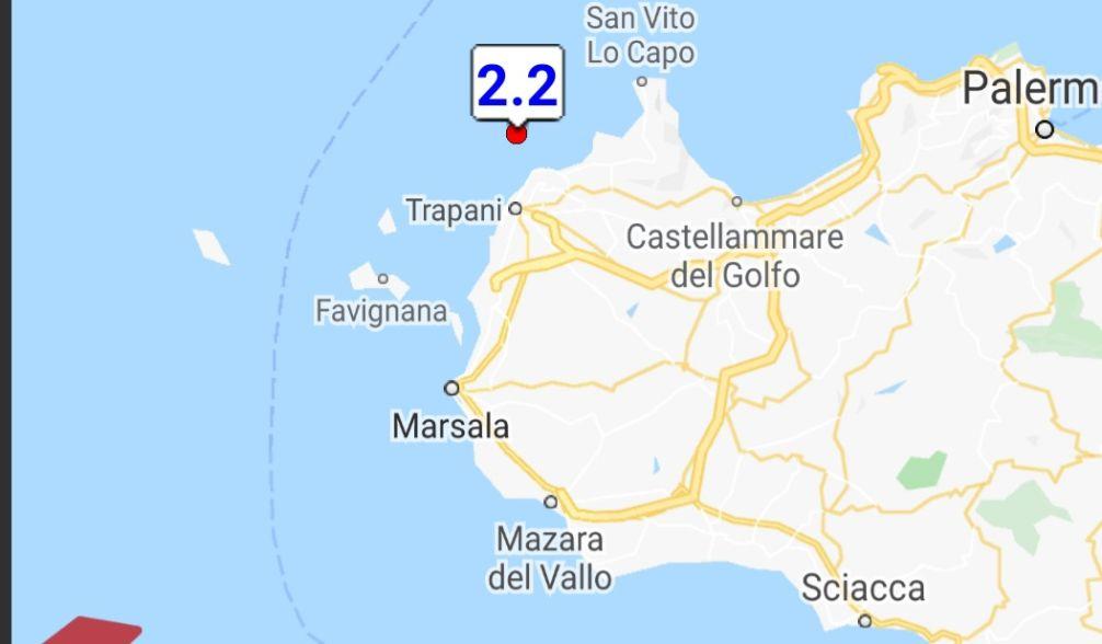 Scossa sismica di magnitudo 2.2 davanti la costa trapanese