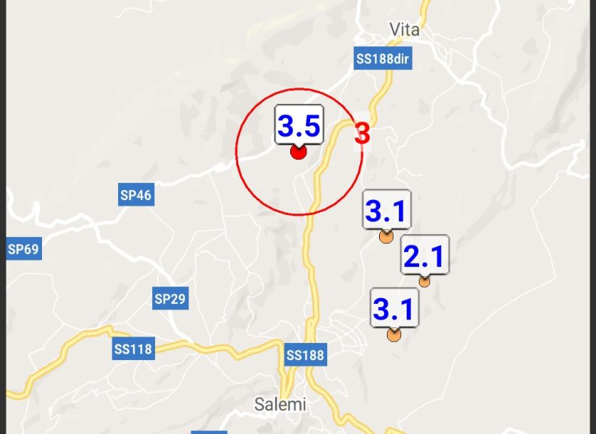 La terra continua a tremare tra Salemi e Vita. Registrate quattro scosse di terremoto