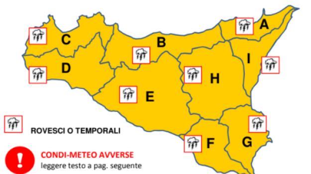 Maltempo, domani allerta arancione su tutta la Sicilia
