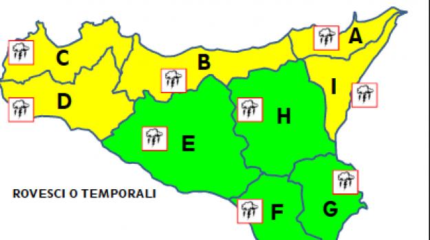 Maltempo, domani allerta gialla in gran parte della Sicilia