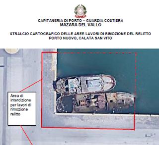 Mazara. Capitaneria di porto: Intervento di recupero e smaltimento di un relitto all'interno del porto