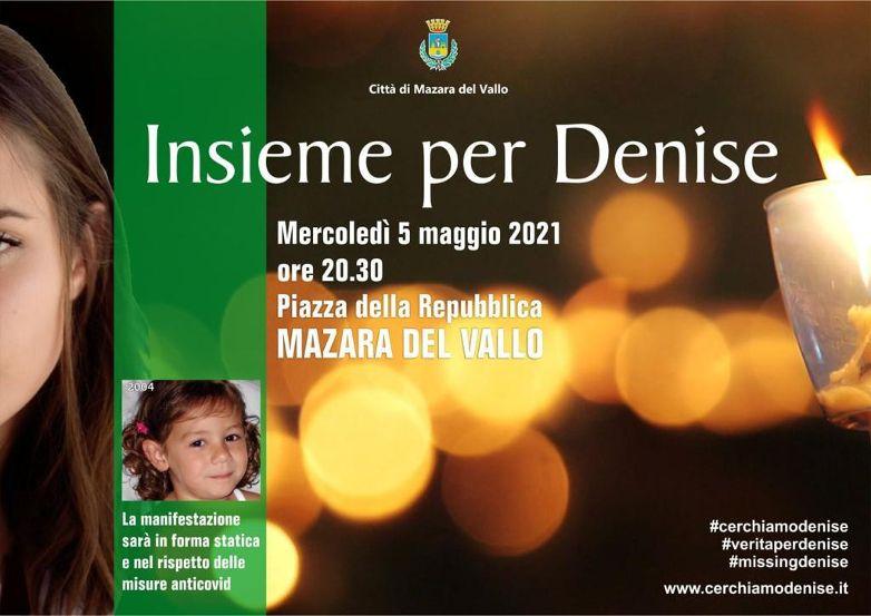 """Mazara. """"Insieme per Denise"""" Mercoledì 5 maggio Giornata dedicata a Denise Pipitone con Manifestazione serale nella piazza della Repubblica"""