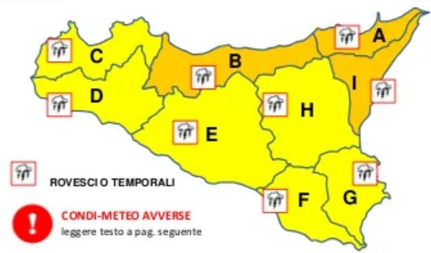 Regione Siciliana - Dipartimento Regionale della Protezione Civile: Domani in Sicilia allerta gialla e arancione