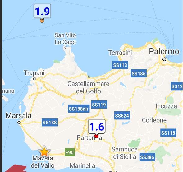 Leggere scosse sismiche in provincia di Trapani, la più forte di magnitudo 2.8